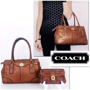 Coach Hampton Whiskey Leather Turnlock Satchel Set
